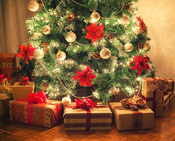 Christmas trees and decorations